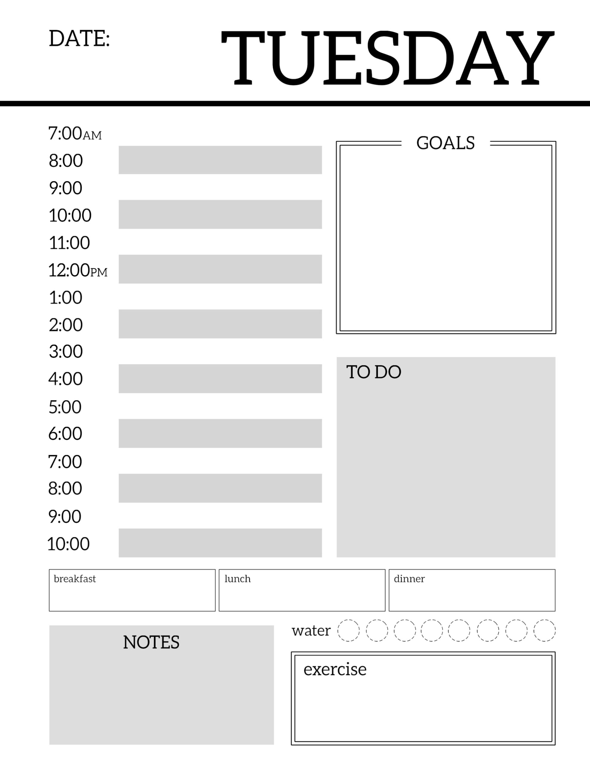 Daily Planner Printable Template Sheets