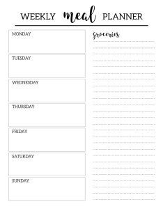 Free printable meal planner template weekly dinner menu plan diy with grocery list included also paper trail design rh papertraildesign