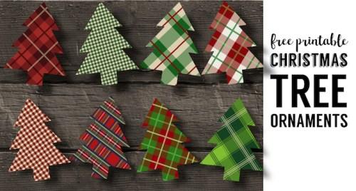 Plaid Christmas Tree Ornaments Printable. Easy Christmas ornament craft. Easy DIY Christmas tree ornament set of plaid Christmas trees.