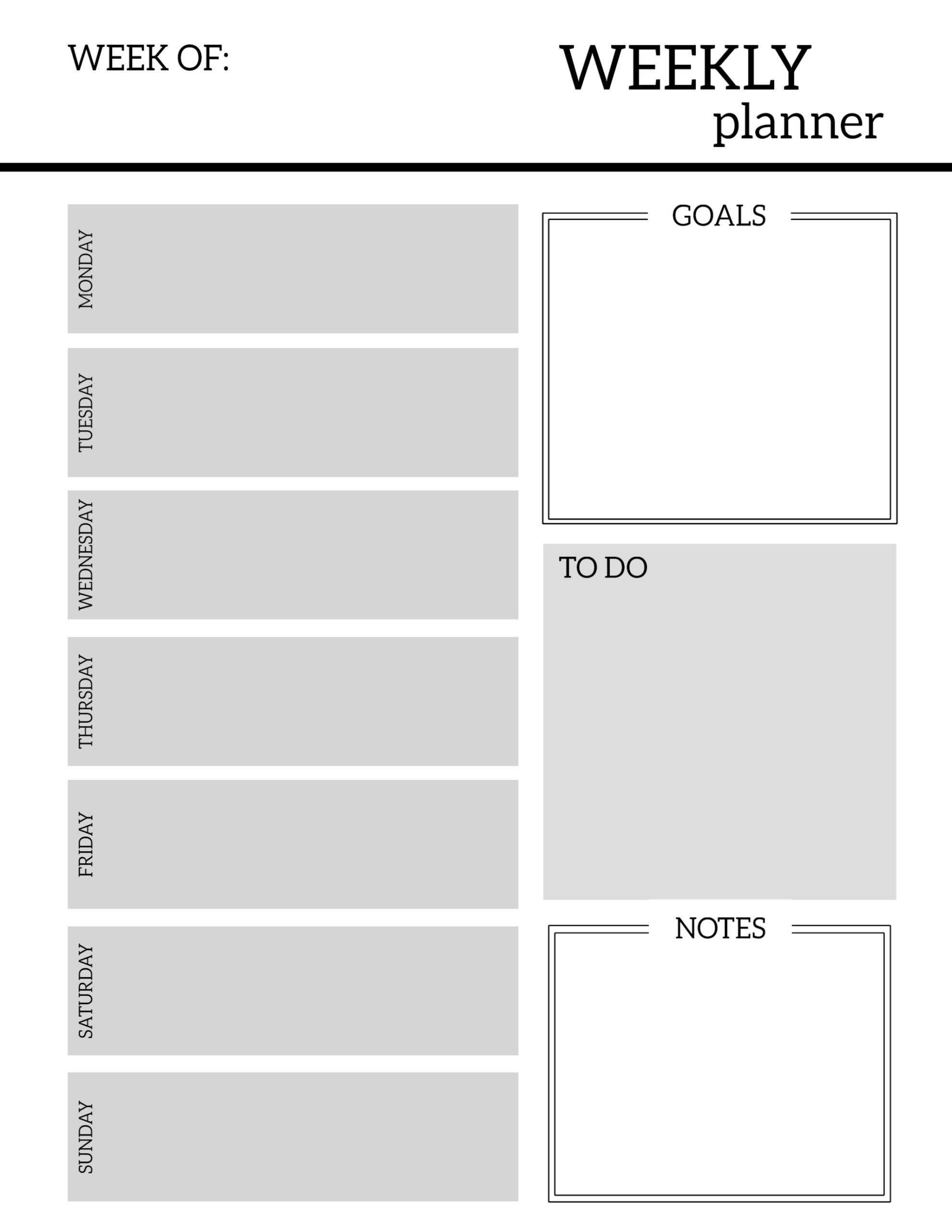 click the following links to print the free printable weekly planner pages