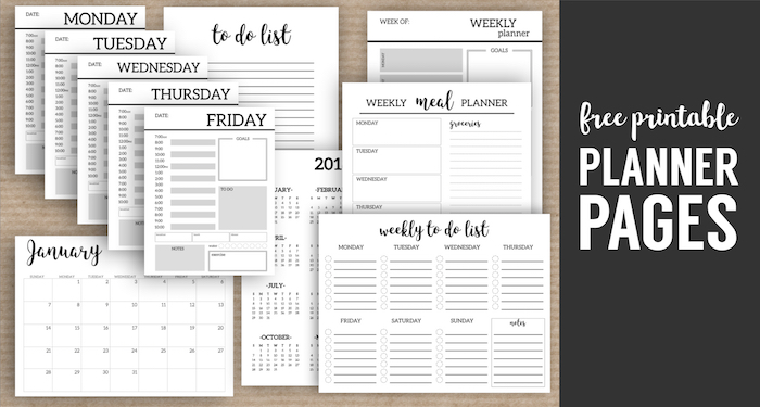 Typography Daily Calendar : Monthly planner template printable pages paper