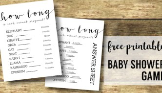 Free Baby Shower Games Printable {Animal Pregnancies}. Girl of Boy Baby shower printable. Easy fun DIY baby shower activity. #papertraildesign #babyshowergames #babyshowerideas #easybabyshower