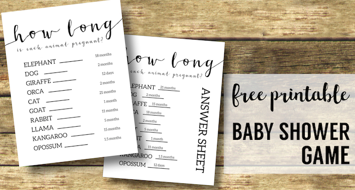 Free Baby Shower Games Printable {Animal Pregnancies}