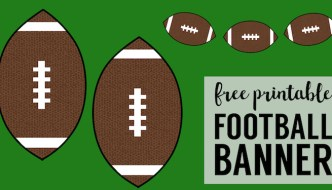 Cheap Super Bowl Decorations {Football Banner}. DIY football party free printables. Easy inexpensive game day decor ideas. #papertraildesign #superbowlparty #footballparty #gamedayready