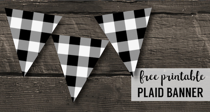 Buffalo Plaid Banner Printable Lumberjack Party Decor