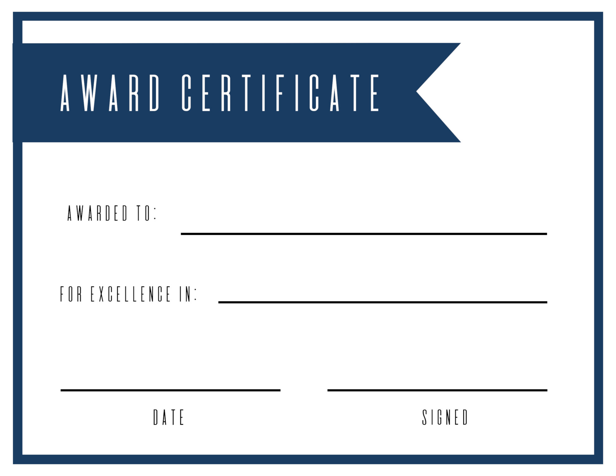 click the following links to print the free printable award certificate template - Free Printable Blank Award Certificate Templates