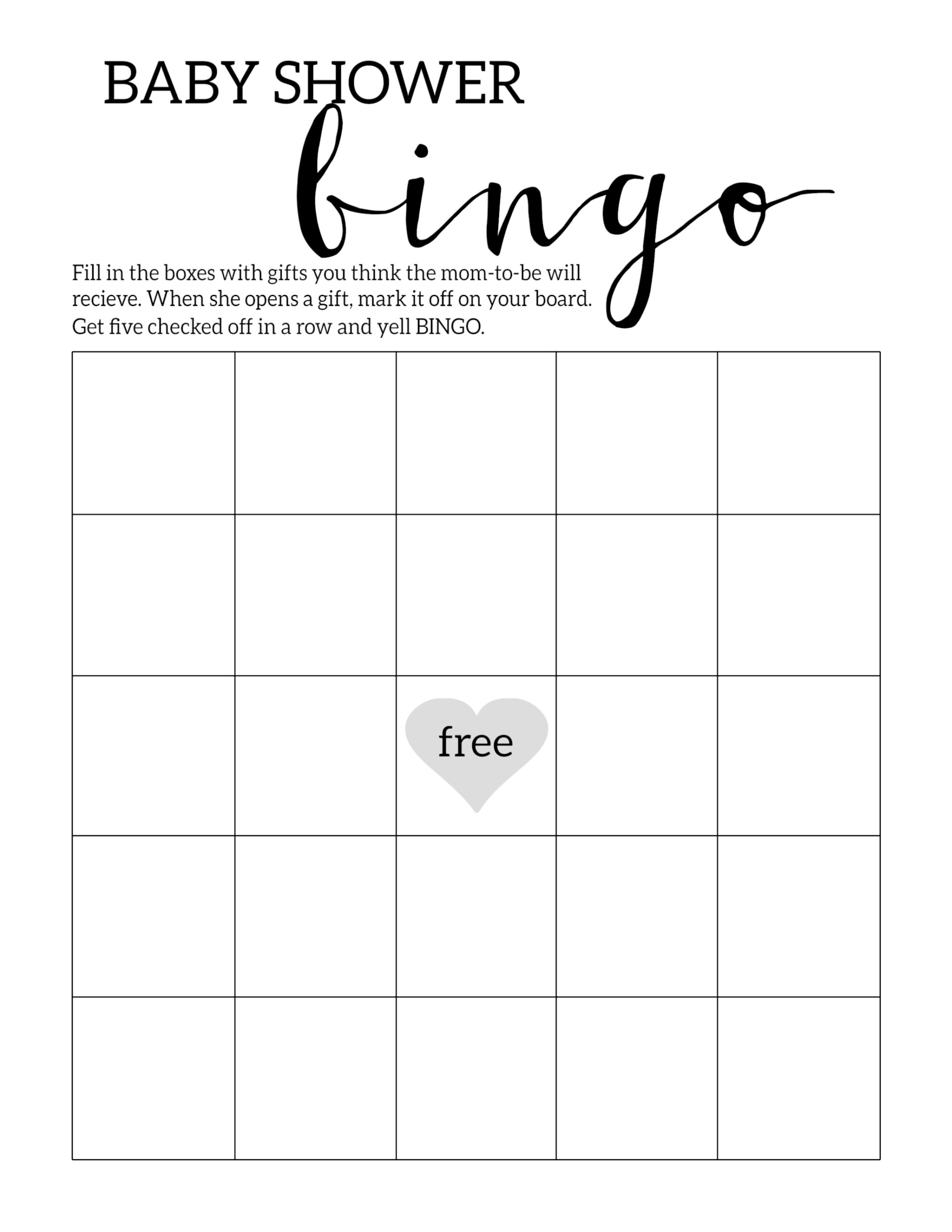 Baby Shower Bingo Printable Cards Template