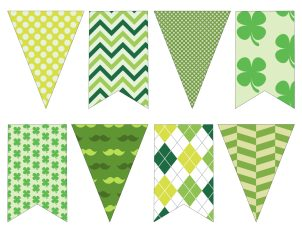 DIY St. Patrick's Day Decorations Printable Banner. Easy Irish St. Patty's Day decor idea. Cute shamrock green bunting free printable.