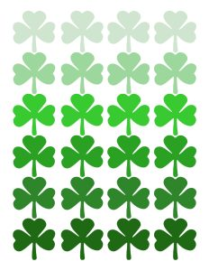 Shamrock Pattern Printable St. Patrick's Day Decor. Easy St. Patty's Day decoration idea DIY wall art print. Ombre shamrock irish ideas. #papertraildesign #stpatricksday #irish #lucky