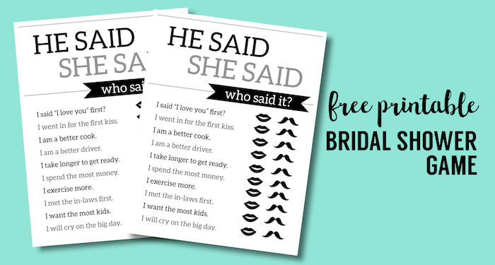 picture regarding Free Printable Bridal Shower Games and Activities called Absolutely free Printable Wedding ceremony Shower Online games He Mentioned She Reported