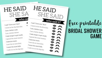 Free Printable Wedding Shower Games {He Said She Said}. Best easy free bridal shower games ideas. Did the bride or groom say these? #papertraidesign #bridalshower #weddingshower #bridalshowergames