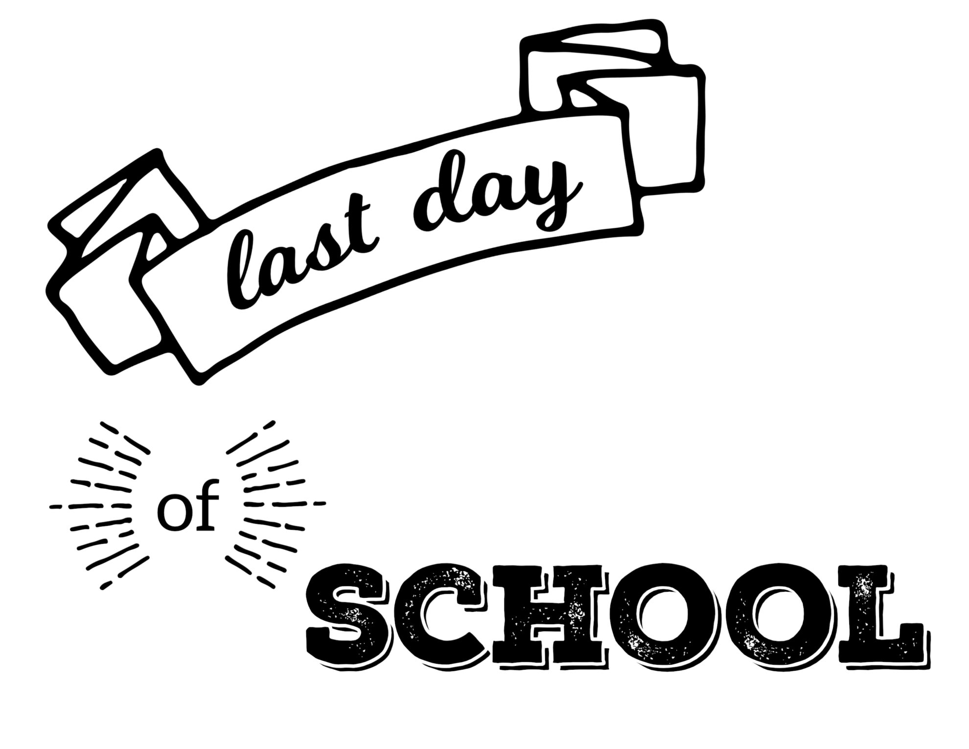 graphic regarding Last Day of School Signs Printable known as Very last Working day of Higher education Printable Signs or symptoms - Paper Path Style