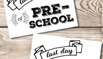 Last Day of School Printable Signs. Free Printable Signs for easy last day of school picture idea. Preschool, Kindergarten, 1st grade to Senior year. #papertraildesign #lastdayofschool #lastdayprintable #lastdaypicture
