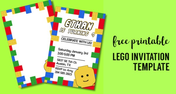 Free Printable Lego Birthday Party Invitation Template. Editable DIY kids birthday party invitaiton or lego baby shower invitation. #papertraildesign #lego #birthdayparty #legobirthday