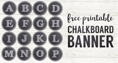 Chalkboard Banner Letters Free Printable Alphabet. Customizable template to use for a wedding banner, birthday, baby shower, bridal shower, or school decor. #papertraildesign #chalkboard #banner #freeprintables