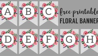 Floral Alphabet Banner Letters Free Printable