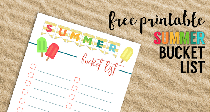 Free Printable Summer Bucket List Ideas Template. Family bucket list template for kids, adults, toddlers, or teens, college, or couples. #papertraildesign #bucketlist #summerbucketlist #summer