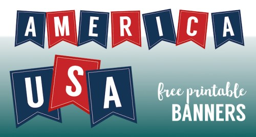 USA Banner Free Printable Decor. Patriotic red, white, and blue flags for 4th of July, Memorial Day, or Veterans Day party decoration. #papertraildesign #4thofJuly #July4th #FourthofJuly