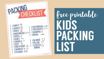 Free Printable Vacation Packing List Template for Kids