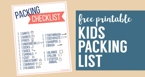 Free Printable Vacation Packing List Template for Kids. Kids travel packing checklist with pictures to help them pack for a trip. #papertraildesign #travel #vacation #packinglist