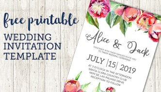 Free Wedding Invitation Template {Floral Peonies}. Free printable flower invitation template. Customize your invitation using this wedding invite. #papertraildesign #wedding #invitation #weddinginvitation
