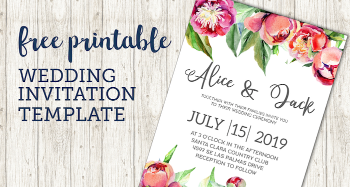 Free Wedding Invitation Template {Floral Peonies} Paper