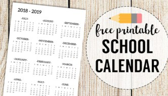 2018-2019 School Calendar Printable Free Template