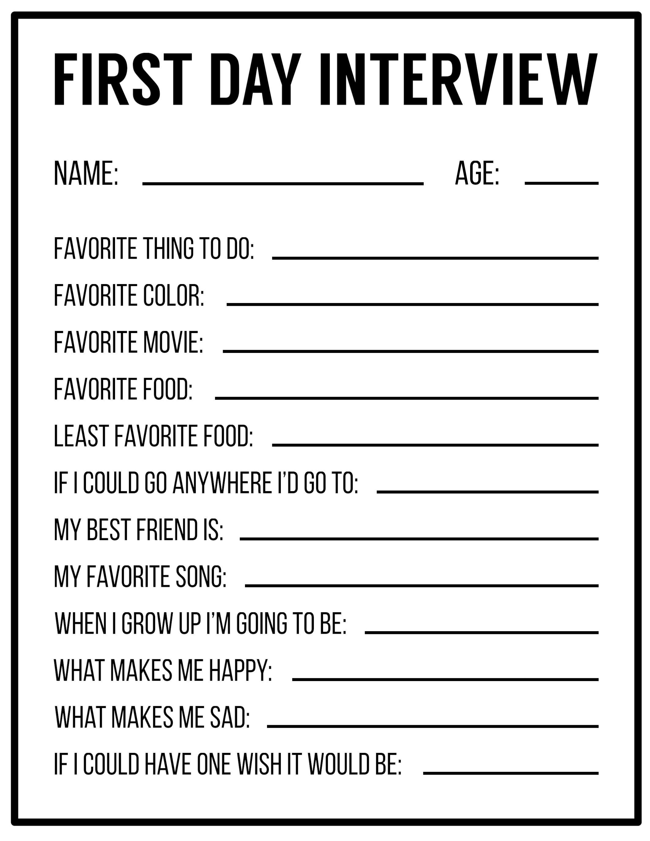 All About Me Printables Interview Template