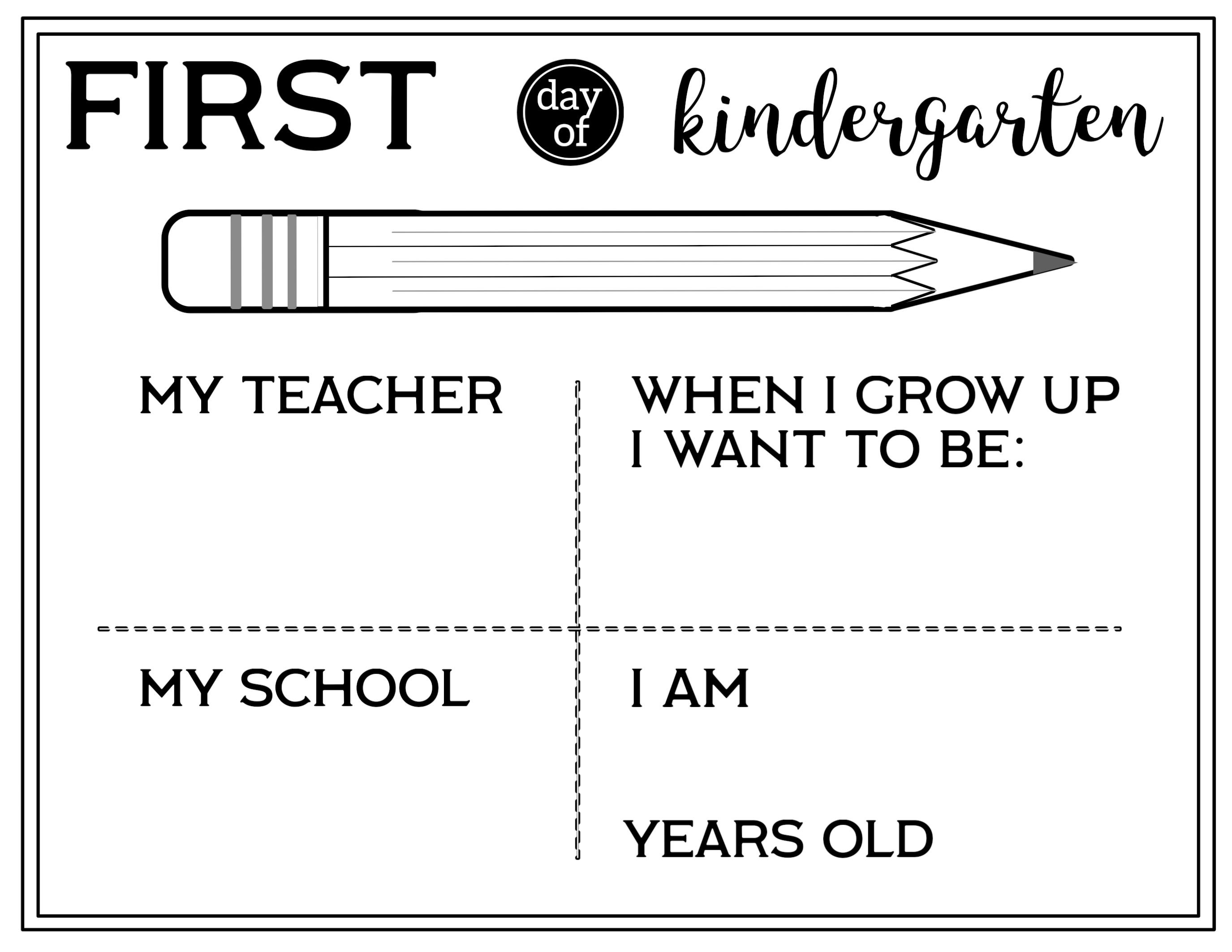graphic regarding All About Me Kindergarten Printable titled Free of charge Printable To start with Working day of University All Relating to Me Signal - Paper