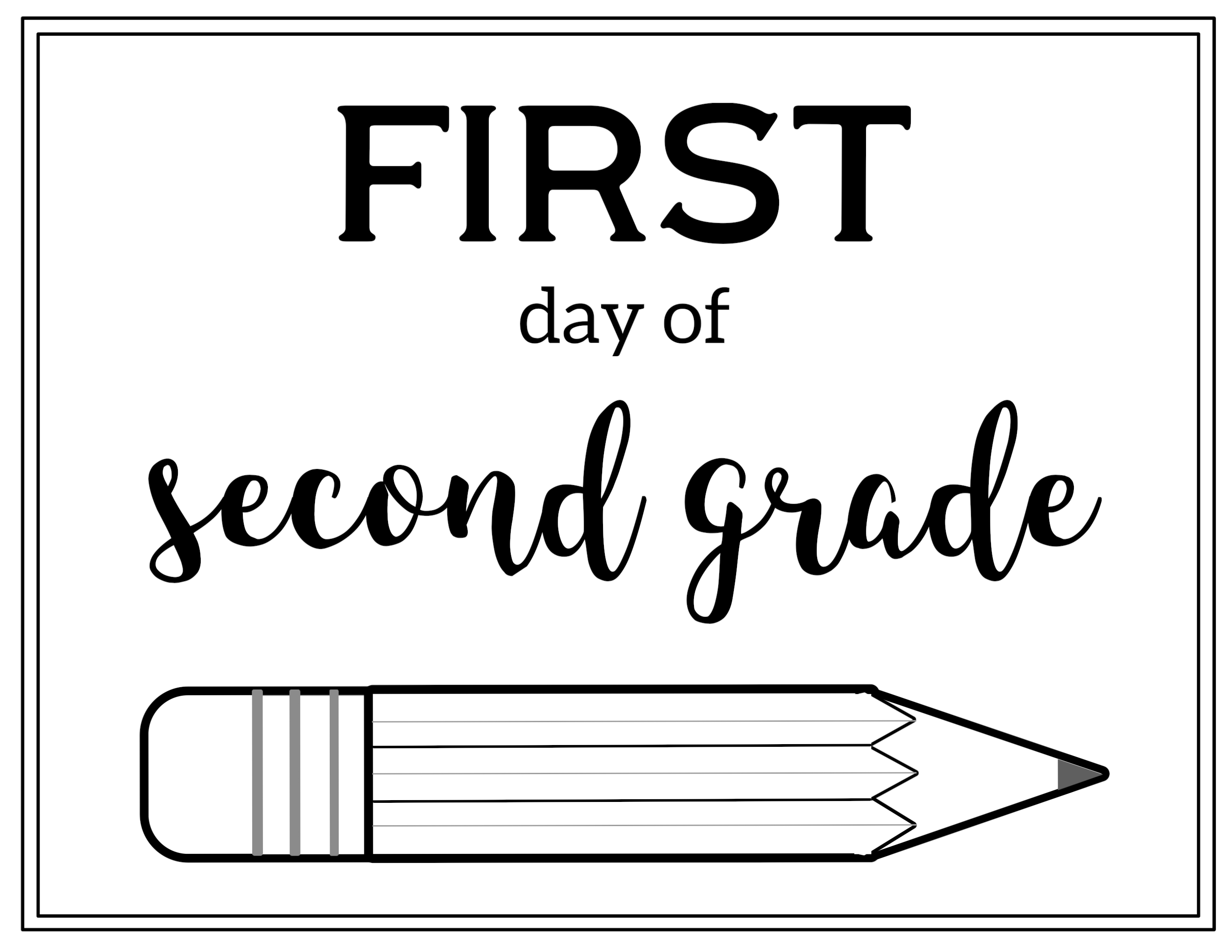 photo about First Day of 2nd Grade Printable Sign identified as Initially working day of instant quality indicator absolutely free printable 2018
