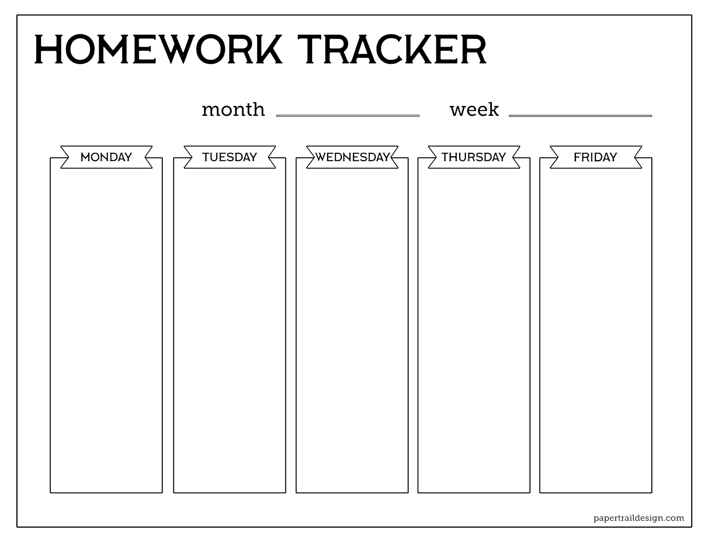 Printable Homework Worksheet