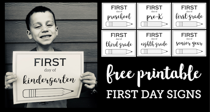 Free Printable First Day of School Sign {Pencil}. Preschool, kindergarten, and first grade through high school first day of school picture signs. #papertraildesign #backtoschool #firstday #firstdayofschool