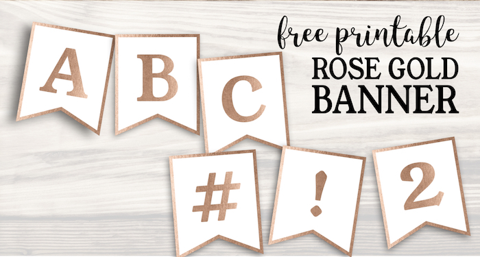 image about Free Printable Bridal Shower Banner named Cost-free Printable Rose Gold Banner Template - Paper Path Layout