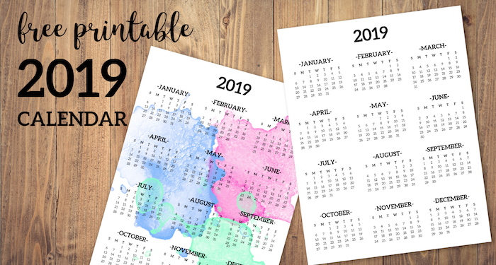 Calendar 2019 Printable One Page Paper Trail Design