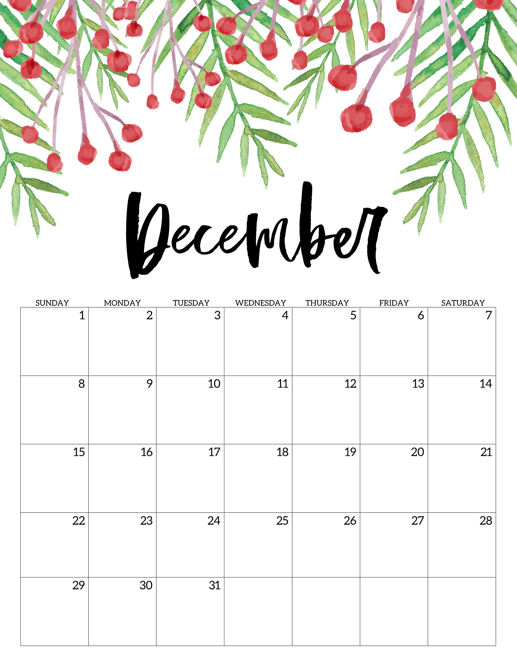 Printable Calendar December 2019 With Holidays And Cute Free Printable Free Printable Calendar 2019   Floral   Paper Trail Design