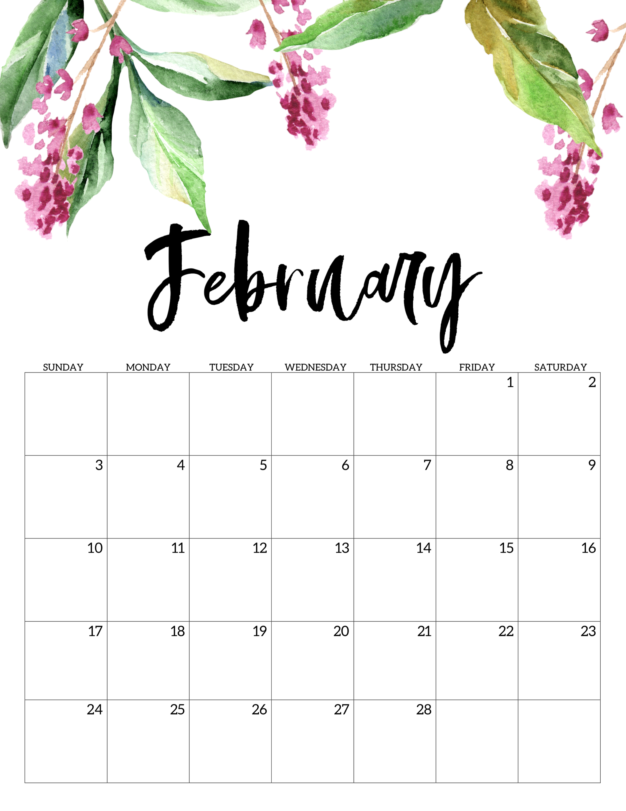photograph regarding Printable Calendar Cute titled Cost-free Printable Calendar 2019 - Floral - Paper Path Design and style