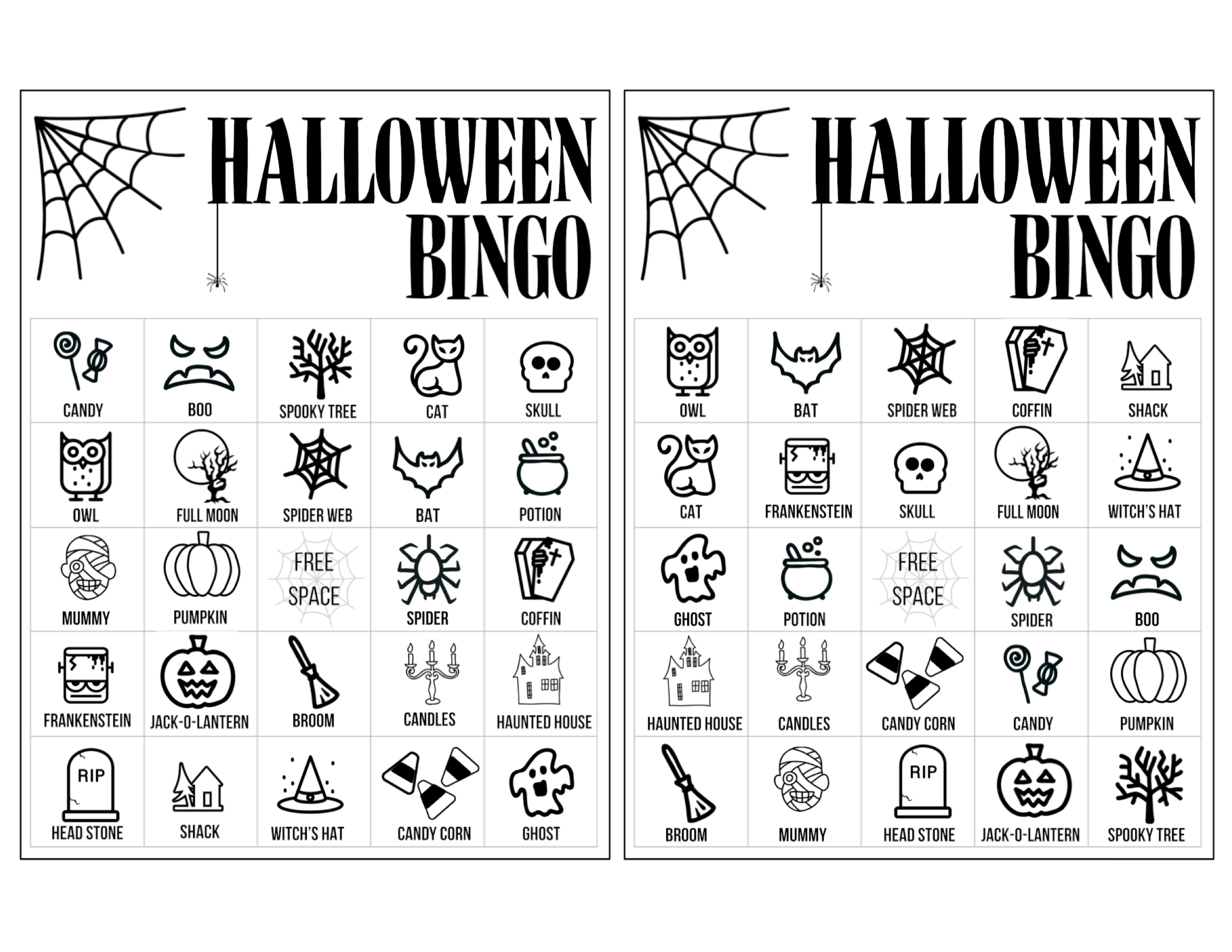 Halloween Bingo Printable Game Cards Template Paper Trail Design