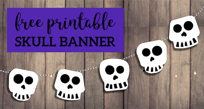 graphic about Printable Skulls titled Cost-free Printable Halloween Skull Decoration Banner - Paper