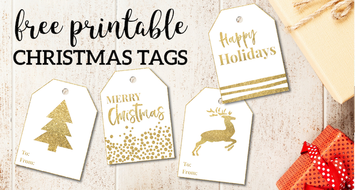image about Christmas Tag Printable named Gold Cost-free Printable Xmas Toward Against Tags - Paper Path Style