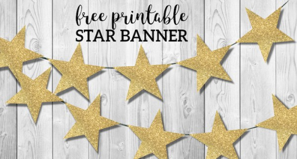 Gold Star Banner Christmas Garland Printable. East gold star garland decor for Holidays, birthday parties, or New Years Eve. #papertraildesign #stargarland #starbanner #christmas #newyear
