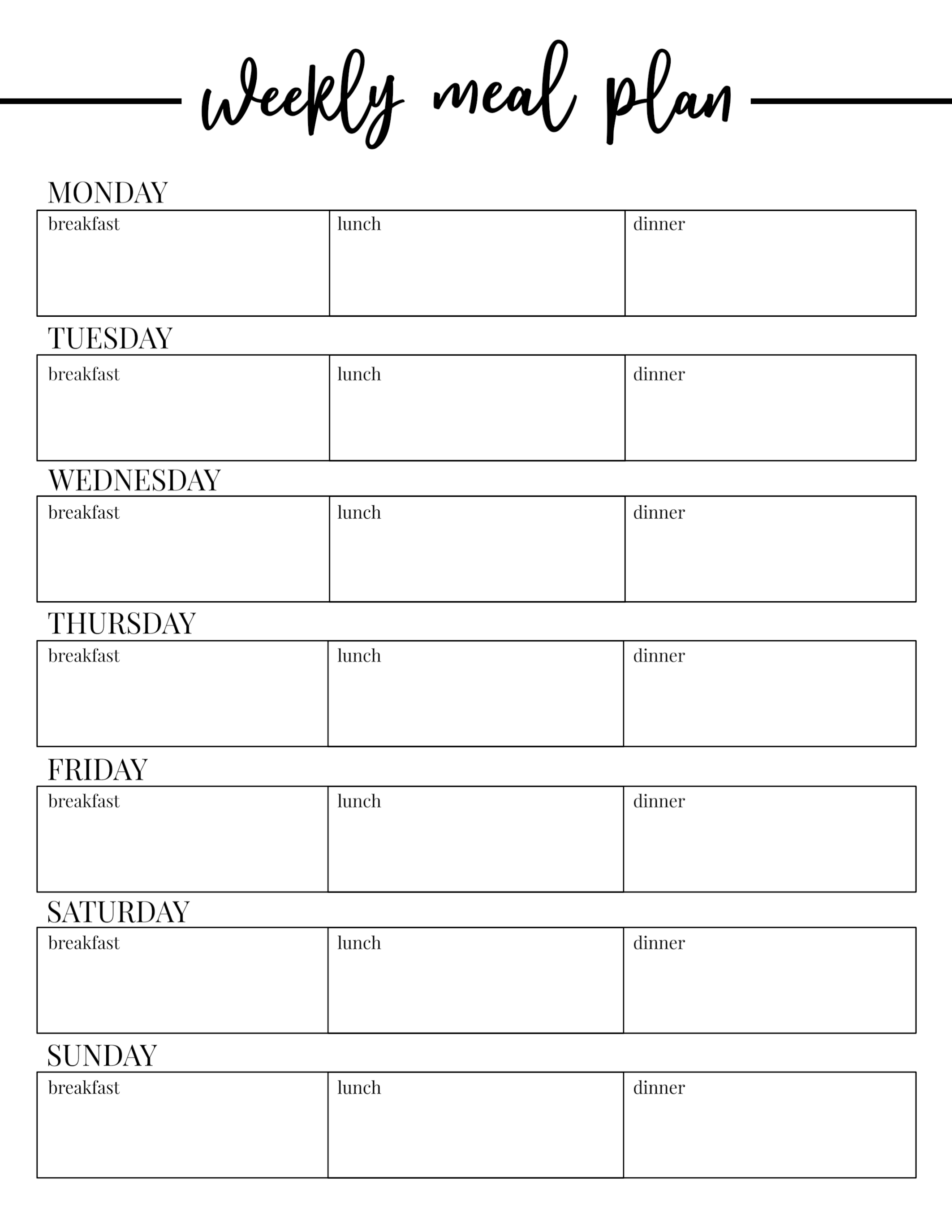 Free Printable Weekly Meal Plan Template Paper Trail Design