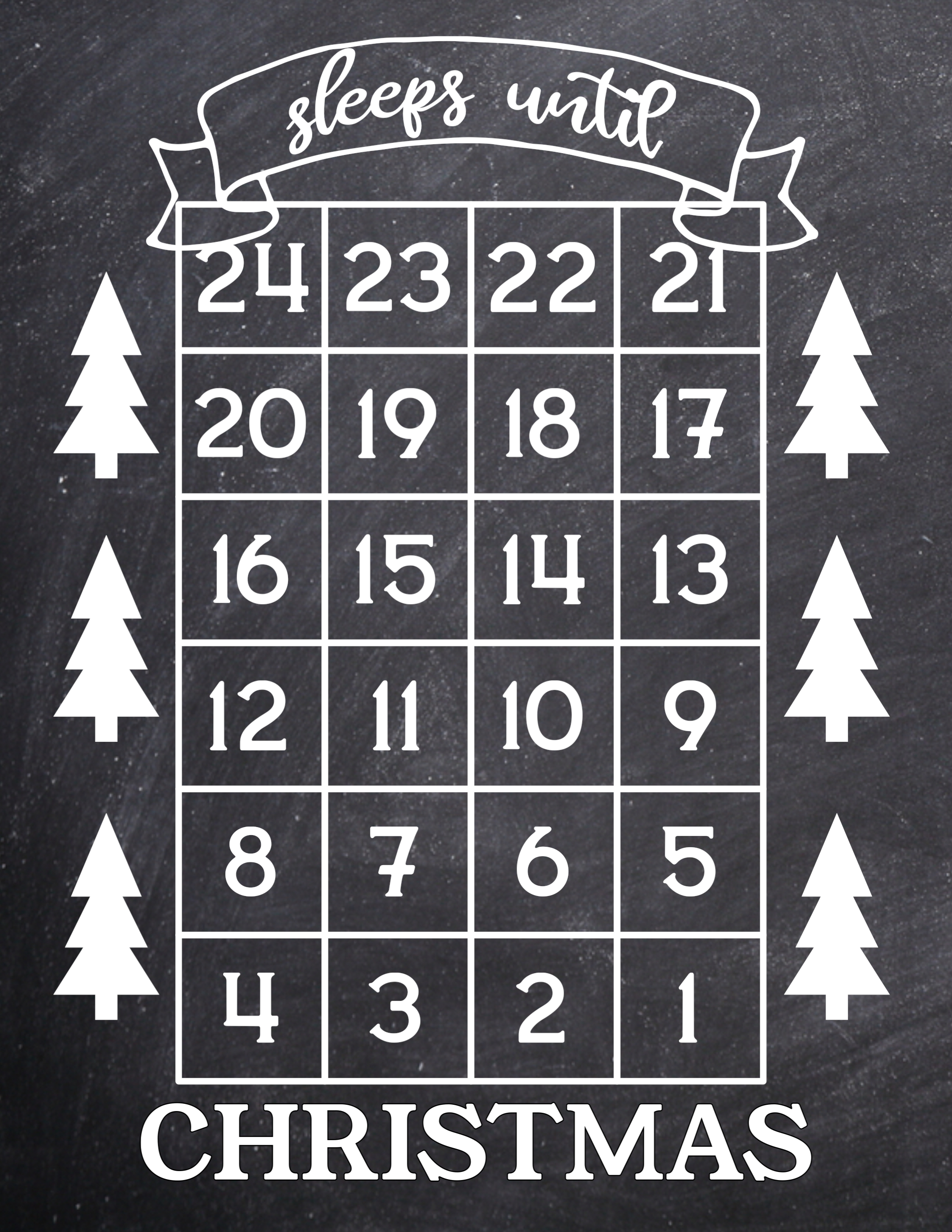 Days Till Christmas Chalkboard.How Many Days Until Christmas Free Printable Paper Trail