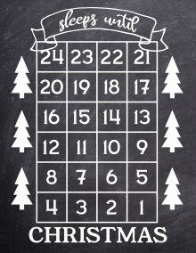 How Many Days Until Christmas Free Printable. Christmas countdown advent calendar sign with trees. Sleeps until Christmas. #papertraildesign #Christmasprintable #advent #adventcalendar #christmas #christmasadventcalendar