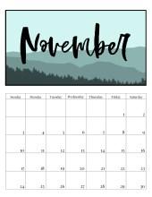 Free Printable Monthly Calendar 2019 - Mountain Trees. Outdoorsy treeline calendar. Nature and adventure lovers calendar. #papertraildesign #calendar #organize #nature #adventure #outdoorsy #organization #outdoorsman
