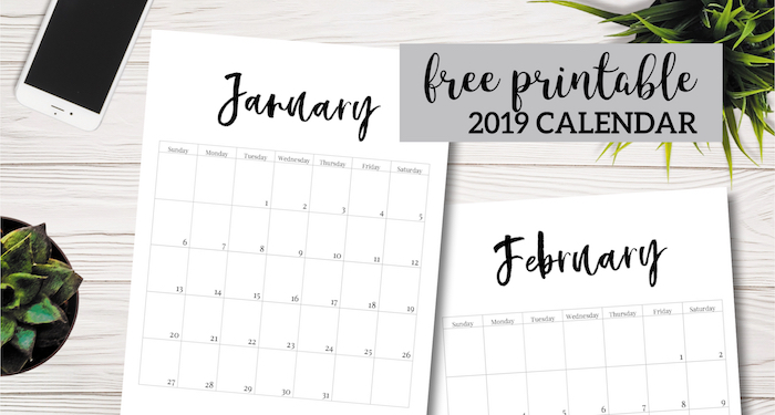 Free Printable 2019 Calendar Template Pages - Paper Trail ...
