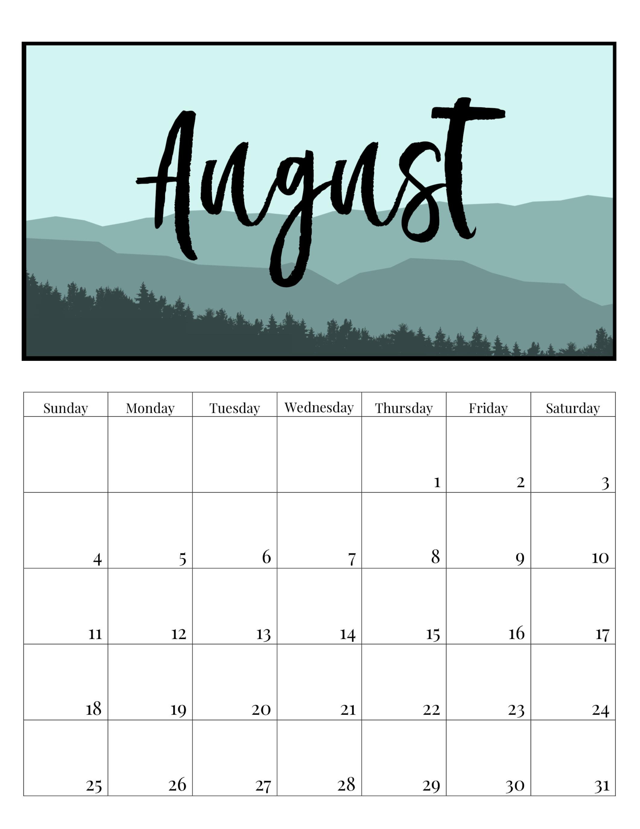 Free Printable Monthly Calendar 2019 Mountain Trees