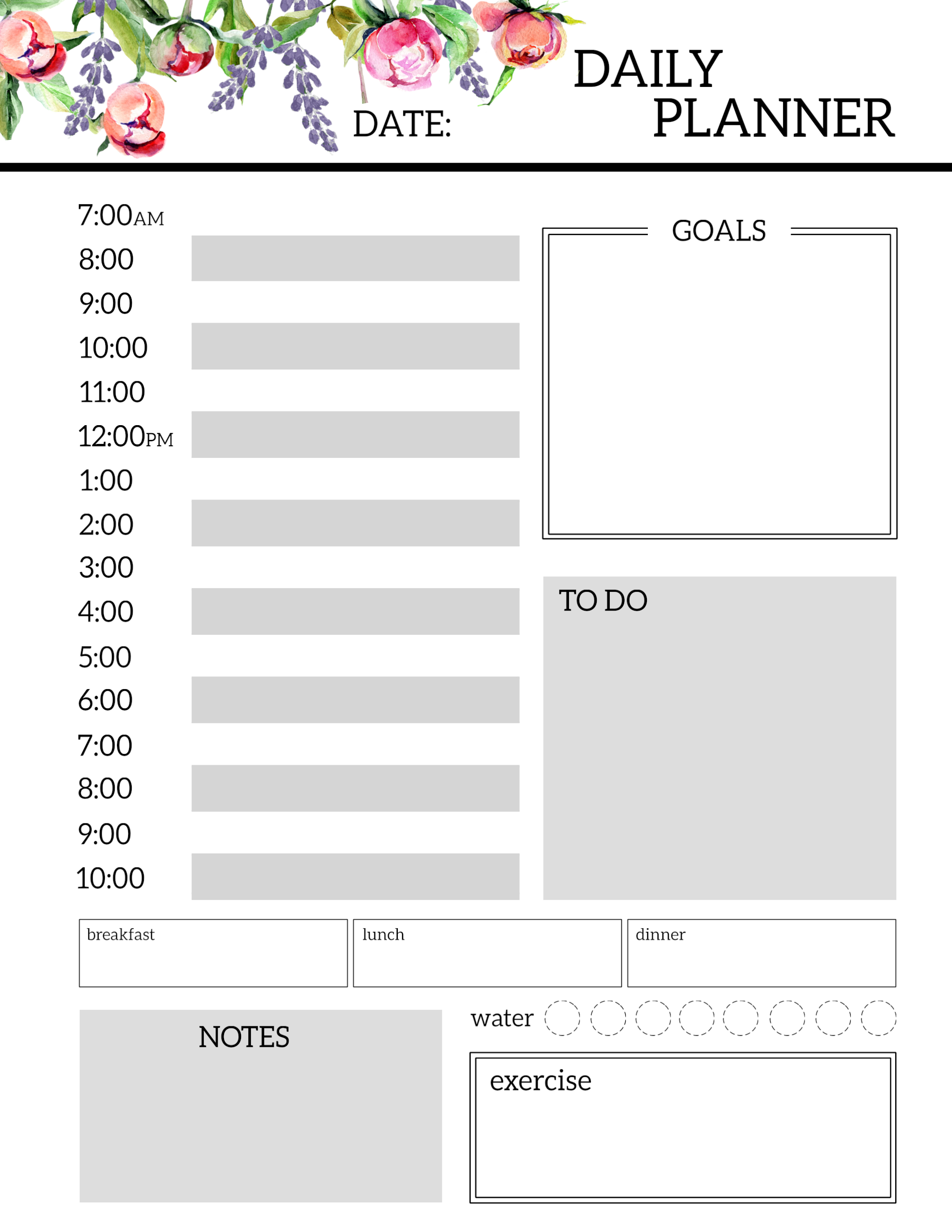 Floral Free Printable Daily Planner Template Sheets