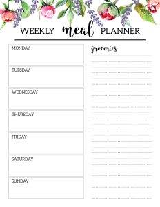 Floral Free Printable Meal Planner Template. DIY Menu planning made easy. Plan and organize daily meals and shopping list. #papertraildesign #mealplan #mealplanner #mealplanning #weeklymealplan #food #weeklymealplanner #floral #floralprintables #family #familylife #momlife