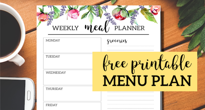 photo about Free Printable Meal Plan called Floral Absolutely free Printable Evening meal Planner Template - Paper Path Style and design