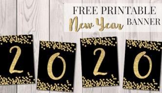 Free Printable Happy New Year Banner Letters. New Year Decor. Cheers. 2019, 2020 2021 Black and gold banner letter decoration. #papertraildesign #newyear #happynewyear #newyeardecor #newyeardecoration #2019